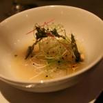 Hamachi with yuzu citrus jus with pickled jalapenos and crisp garlic