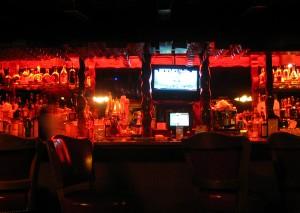 The dimly-lit bar