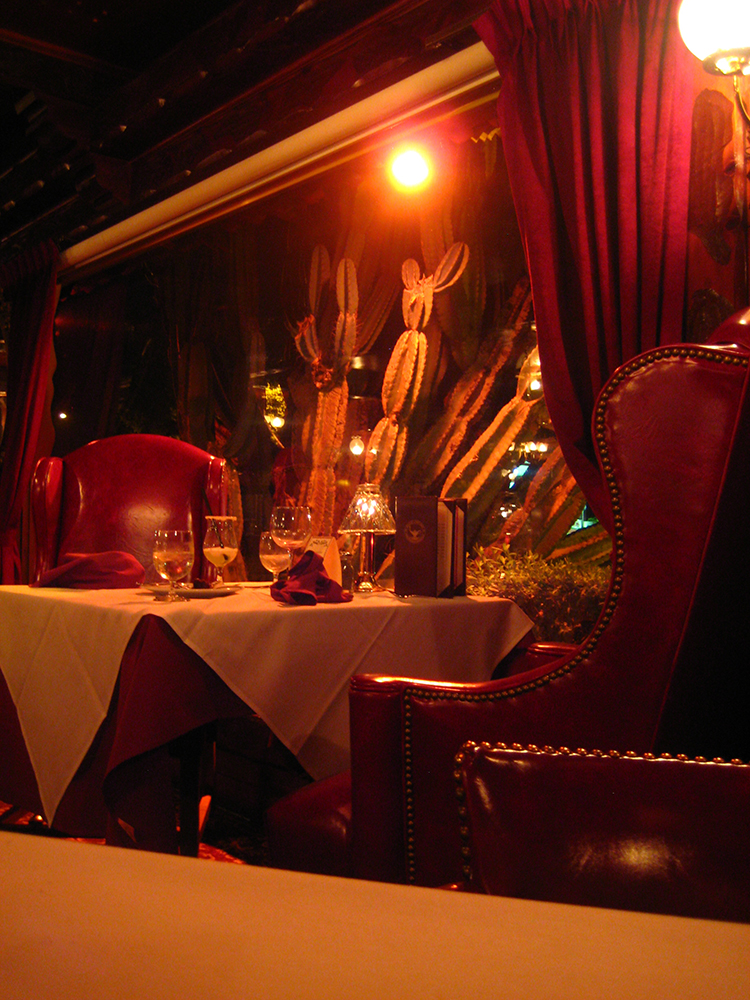 A view of the swanky dining room.