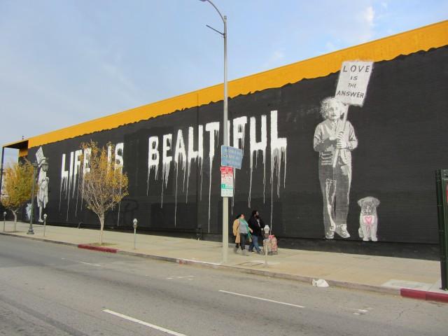 Mr brainwash s life is beautiful the la beat for Mural by mr brainwash