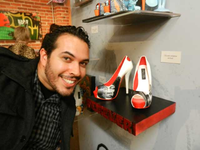 "Chuck Adame, shoe creator with his ""Forever 27"" shoes featuring Morrison, Hendricks, Joplin and Cobain"