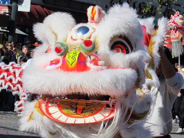 lion dancer in l.a. chinatown on jan 28, 2012