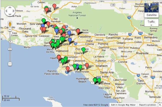 A Map of Pubs in LA