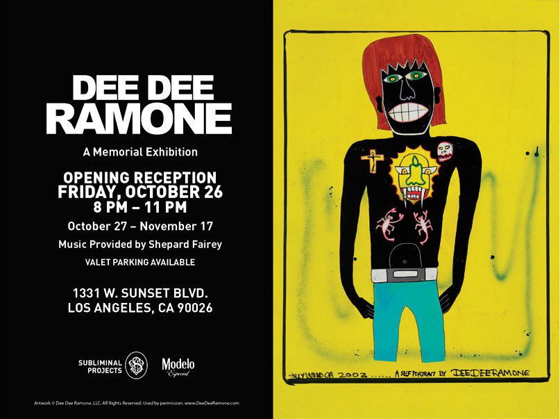 Dee Dee Ramone: a posthumous gallery exhibition of his artwork opens Oct 27