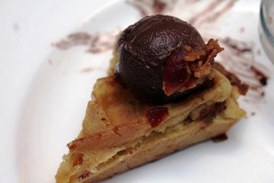 The Bacon Waffle with Chocolate Gelato.
