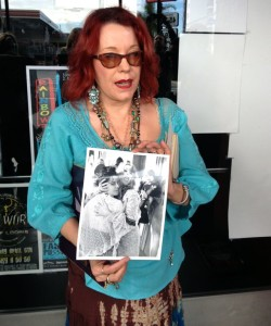 Pamela Des Barres in front of the Whisky showing GTO photos (Photo by Nikki Kreuzer)