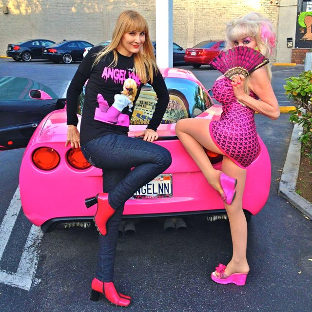 The Author has a photo op with Billboard Queen Angelyne (Photo from Nikki Kreuzer)