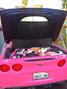 Angelyne's trunk is filled to the brim with merchandise for sale. (Photo by Nikki Kreuzer)