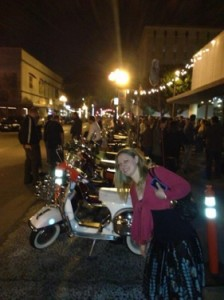 Cat, photobombing the Vespas. Photo courtesy of Cat Noel.