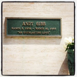 Andy Gibb's grave at Forest Lawn Hollywood Hills (Photo by Nikki Kreuzer)
