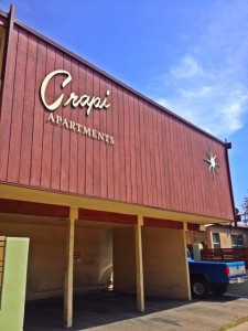 The Crapi Apartments on Overland Avenue in Palms. Built in 1960 it is almost certain that a sarcastic new owner changed the name. (Photo by Nikki Kreuzer)