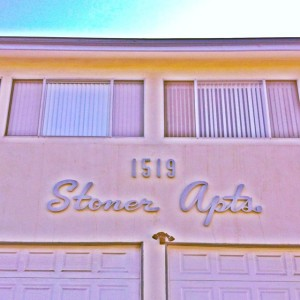 Built in 1964 on Stoner Avenue in Los Angeles, the name of this dingbat was ahead of it's time (Photo by Nikki Kreuzer)