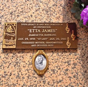Etta James crypt at Inglewood Park Cemetery (Photo by Nikki Kreuzer)