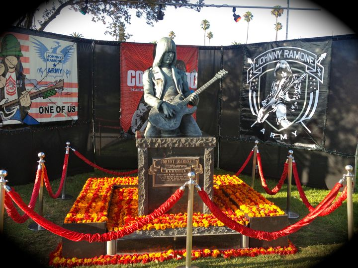 Johnny Ramone's monument, decorated for the 9th Annual Johnny Ramone Tribute (photo by Nikki Kreuzer)