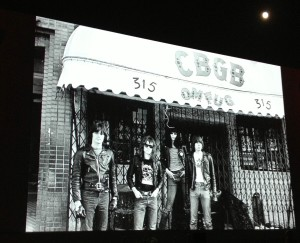 A photo of the Ramones slide show projected on the screen at Hollywood Forever (photo by Nikki Kreuzer)