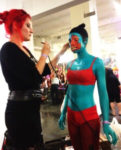 A special effects make-up demo in action (photo by Nikki Kreuzer)