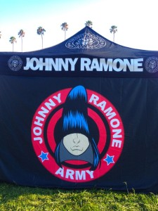 A tent selling Ramones items at Hollywood Forever (photo by Nikki Kreuzer)