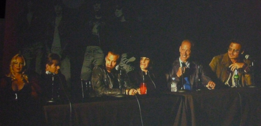A panel discussion about the film Cry-Baby. From right to left: Traci Lords, Joe Dallesando, James Intfeld, Ricki Lake, John Waters and Johnny Depp (photo by Nikki Kreuzer)