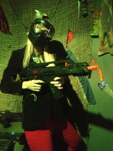 A most unlikely Zombie hunter. The author and her airsoft... (Photo by Karin Swinney)