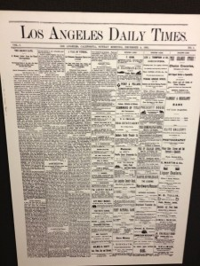 The first Los Angeles Times was published on Sunday December 4, 1881 (photo by Nikki Kreuzer)