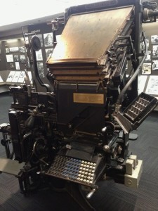 A Linotype Machine produced lines of type from hot molten lead that was melted back down daily (photo by Nikki Kreuzer)