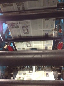 Newspaper being printed (photo by Nikki Kreuzer)