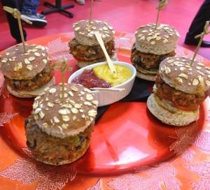 Delicious sample size black bean burgers with aioli sauce (photo by Nikki Kreuzer)