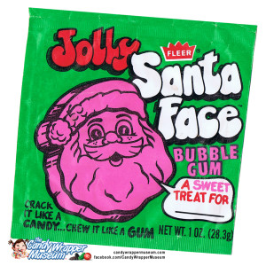 Leave it to Fleer to offer a crazed magenta Santa head to chew on in honor of the holiday.