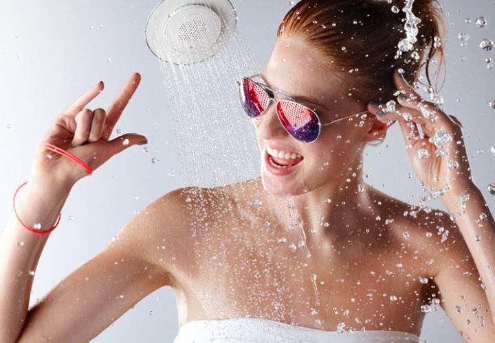 Good clean fun with the rad new Kohler Moxie Showerhead + speaker
