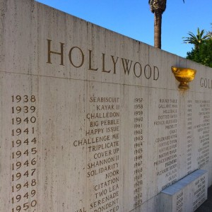 A wall honoring Hollywood Gold Cup winners, starting with Seabiscuit in 1938 (photo by Nikki Kreuzer)
