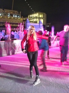 The author ice skates in a rink next to the Queen Mary (photo by Vitta Quinn)