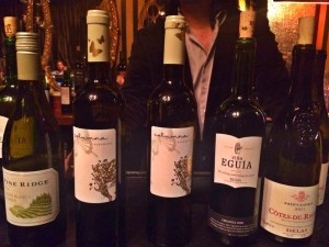 The wine selections of the night )photo by Nikki Kreuzer)