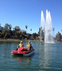 The author pedal boating on Echo Park Lake (photo by Nikki Kreuzer)