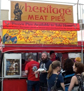 Hungry people waitied in a long line but were awarded with delicious Scottish Meat Pies