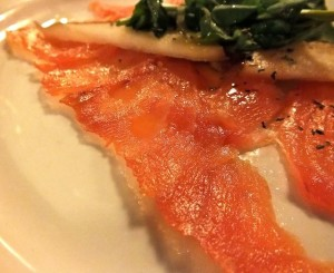 Scottish salmon, cured and than smoked on the Queen Mary