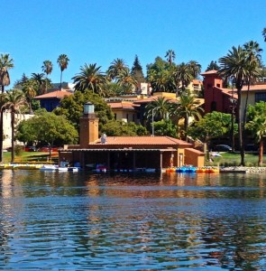 View of the Echo Park Lake Boathouse (photo by Nikki Kreuzer)
