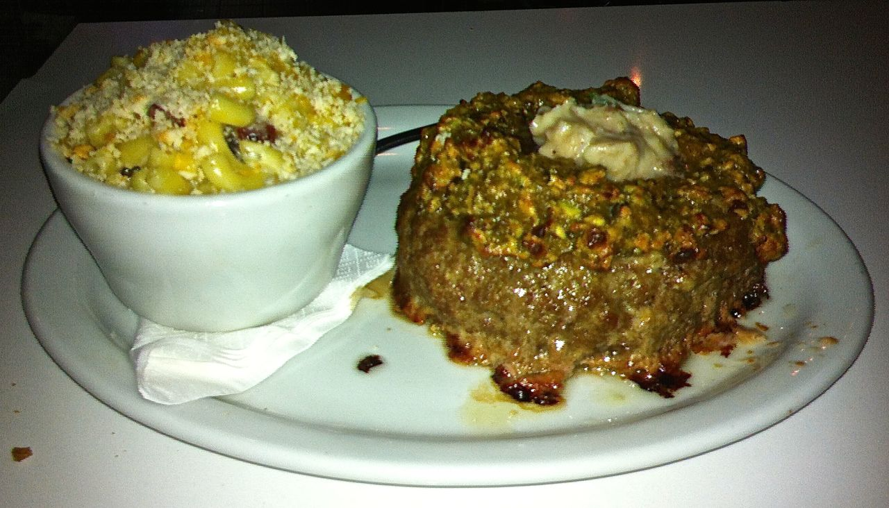 Bison and Bacon Meatloaf, with Bacon Mac and Cheese, is a special treat at slater's 50/50