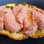 Liver Mousee on Garluc Toast appetizer, Photo by Ed Simon for The Los Angeles Beat