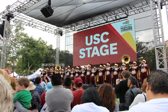 The USC marching band kicked off the festival on Saturday morning.