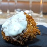 Lamb shank Fritter with bleu cheese sauceappetizer. Photo by Ed Simon for The Los Angeles Beat