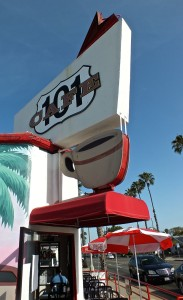 The 101 Cafe in Oceanside has a nice look that goes back to the Roaring 20's. Photograph by Edward Simon for The Los Angeles Beat.