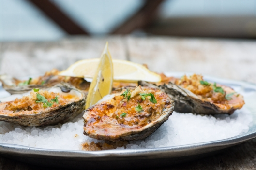 Barbecued Gulf Oysters from Chefs Kris Tominaga and Brian Dunsmoor of The Hart and the Hunter