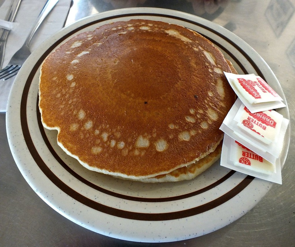 Huge buttermilk pancakes from the 101 Cafe in Oceanside. Photo by Edward Smon for The Los Angeles Beat.