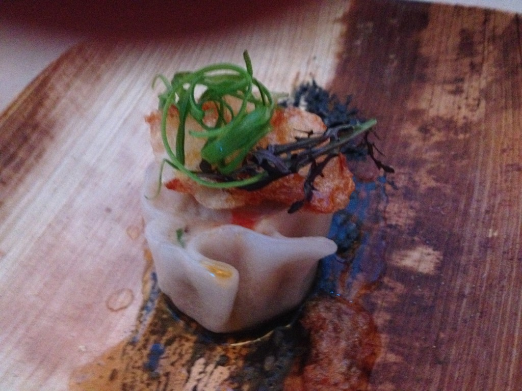 Pigtail Shrimp Dumpling, Black Sesame, Ruby Streaks and Chile Oil