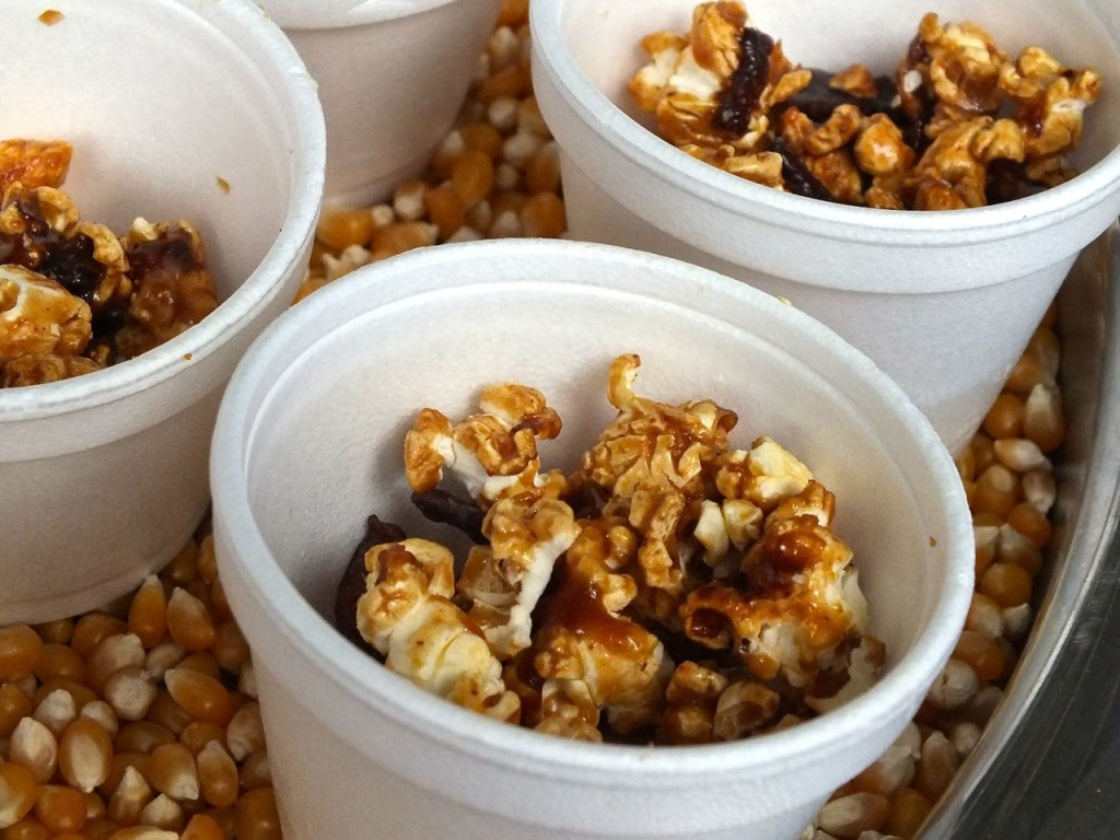 Spicy caramel popcorn at the Big Bite Bacon Fest. Photo by Edward Simon for The Los angeles Beat.