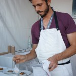 chef Ari Taymor of Alma plates liquid nitrogen frozen bits of liver