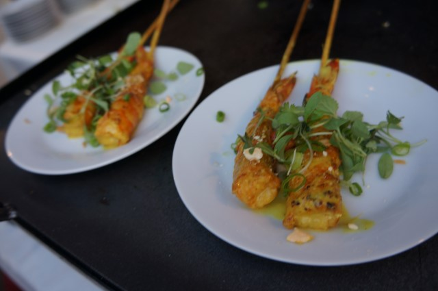 Indonesian Shrimp Satay with Cashew Curry and Fried Shallot Sambal from Little Sister