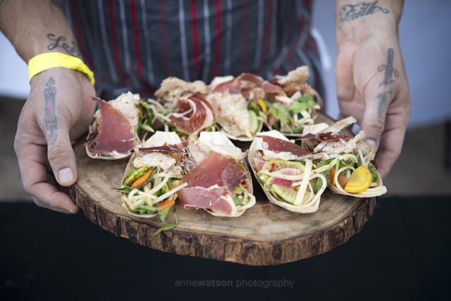 Delicious dishes at PigOut 2.0.  Photo courtesy of Ann Watson Photography.