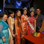 Miss Chinatown and her court, restauranteur, amcees Shirley Zhang and Eddie Lin