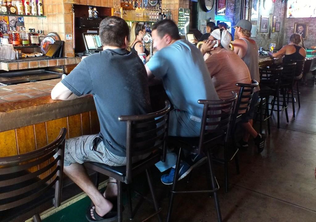 Enjoying the Bar at Iguana Kelley's. Photo by Edward Simon for The Los Angeles Beat.